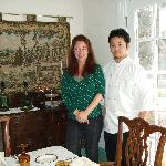 Leanne and Campagne in the dining room