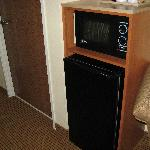 Microwave and Fridge in room