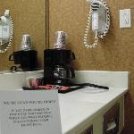 In-room coffee maker and hair dryer