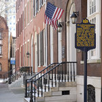 Outside of the Rosenbach Museum & Library on historic Delancey Place in Rittenhouse Square