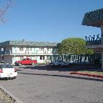 South side of motel. Swimming pool near the tree