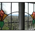  Stained Glass Windows in Upstairs Bath, Pear Orchard in Background