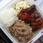 Kalua Pork, Teriyaki Chicken, Steamed Rice, Potato/Mac Salad