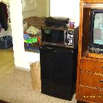 In room refrigerator and microwave were convenient. The electric grill was our own.