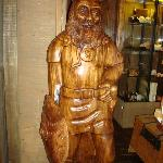 Carved Viking in the lobby of the hotel.