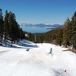 My last day at Diamond Peak looking back at Tahoe from the top of the terrain park. April 13, 20