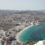 View from the top of the Penon de Ifach towards the beach on which the hotel is half way along