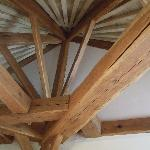 Huge oak beams in the cottage.