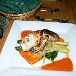 pan fried sable fish with various vegetables- superb