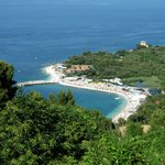 The view down to the beach at Portonovo - go here to eat!