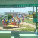 Old fashioned carousel, fishing pier