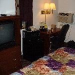  Your king room has a fridge, microwave, desk and recliner. The desk chair is more comfortable.
