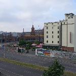 view opposite the hotel and railway station / train
