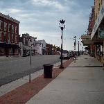 Main street in Clarksville at rush hour.