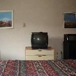 View from the bed - TV, mini fridge and microwave