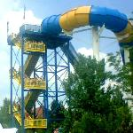 One of the many kid friendly attractions (a tower you can climb up, splash others, etc)