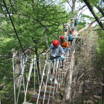 Crossing the rope bridge