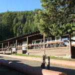 front porch of Roosevelt Lodge, early a.m.