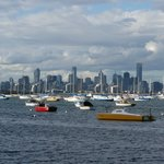 Boats at Gem Pier, Williamstown, with Melbourne City on the background