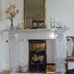 Gorgeous fireplace in the four-poster room