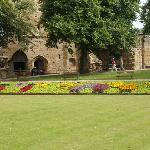 Bowling green & gardens outside Knaresborough Castle