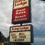 Here is the sign to the motel. Yeah right $49 a night!