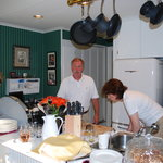 Our innkeepers in the comfy kitchen