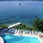 View of hotel pool and across to Korcula from bedroom balcony