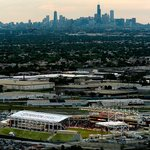 Toyota Park with the Chicago skyline in the background