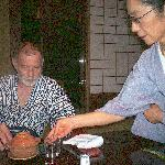 Samurai Dan being served his Kaiseki Dinner at the Hiiragiya Bekkan
