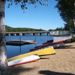  view of canoes and water from beach