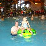 Maya and dad on the turtle