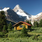 Mt. Assiniboine Lodge.  Mt. Assiniboine cabin w/ Mt. Assiniboine in background.