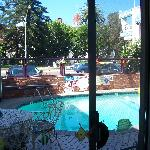 View from suite to pool and street.