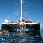 The boat tied down at molokini