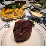 An intimidating 14 oz. Filet Mignon, excellent in cut and flavor --no need for the Hollandaise