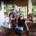 On the porch outside our rooms at Samay Juku. Ready to swim in some waterfalls!