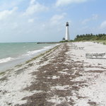 The beach and Cape Florida Lighthouse
