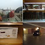 Top left clockwise: 1) Terrace view. 2)  Lobby bar. 3) In room safe. 4) Hotel parking garage.