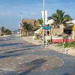 View of Boardwalk south in Mahahual, Costa Maya
