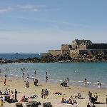 The beach and fort at St Malo.