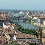 Looking down on the Arno and Ponte Vecchio