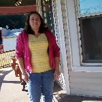Jeanette on round front porch