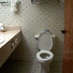  the bathroom, shower to the right of commode
