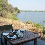 Breakfast alongside the Zambezi