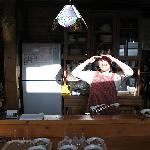Cottage owner, Masami, preparing our breakfast