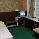 Rm. 28, Basic Single Bed, note the TV, fridge, writing desk, note the green!