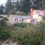 view of the cottage from the beach
