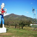 Johnny Appleseed staute and view of Peaks of Otter from Johnson&#39;s Orchard