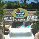 The Shipwreck Island sign  hanging over one of the slides